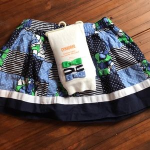 Gymboree skirt and footless bow sweater tights